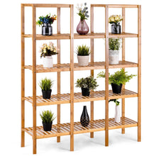 Load image into Gallery viewer, Home costway bamboo utility shelf bathroom rack plant display stand 5 tier storage organizer rack cube w several cell closet storage cabinet 12 pots
