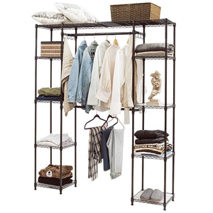 Latest tangkula garment rack portable adjustable expandable closet storage organizer system home bedroom closet shelves clothes wardrobe coffee