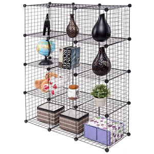 Top tangkula wire storage cubes metal wire free standing modular shelving grids diy bookcase closet wardrobe organization storage cubes 12 cubes
