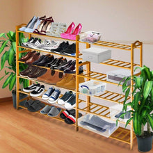 Load image into Gallery viewer, Storage anko bamboo shoe rack natural bamboo thickened 6 tier mesh utility entryway shoe shelf storage organizer suitable for entryway closet living room bedroom 1 pack