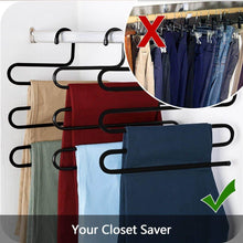 Load image into Gallery viewer, Discover the ds pants hanger multi layer s style jeans trouser hanger closet organize storage stainless steel rack space saver for tie scarf shock jeans towel clothes 4 pack 1