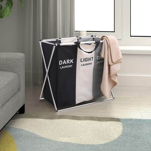 Featured qf laundry hamper with 3 sections foldable sorter laundry basket for bedroom laundry room bathroom college apartment and closet