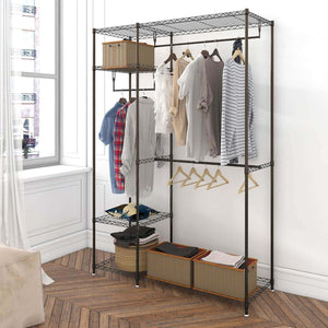 Latest lifewit portable wardrobe clothes closet storage organizer with hanging rod adjustable legs quick and easy to assemble large capacity dark brown