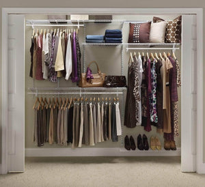 Shop for closetmaid 22875 shelftrack 5ft to 8ft adjustable closet organizer kit white