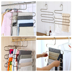Discover the trusber stainless steel pants hangers s shape metal clothes racks with 5 layers for closet organization space saving for pants jeans trousers scarfs durable and no distortion silver pack of 5