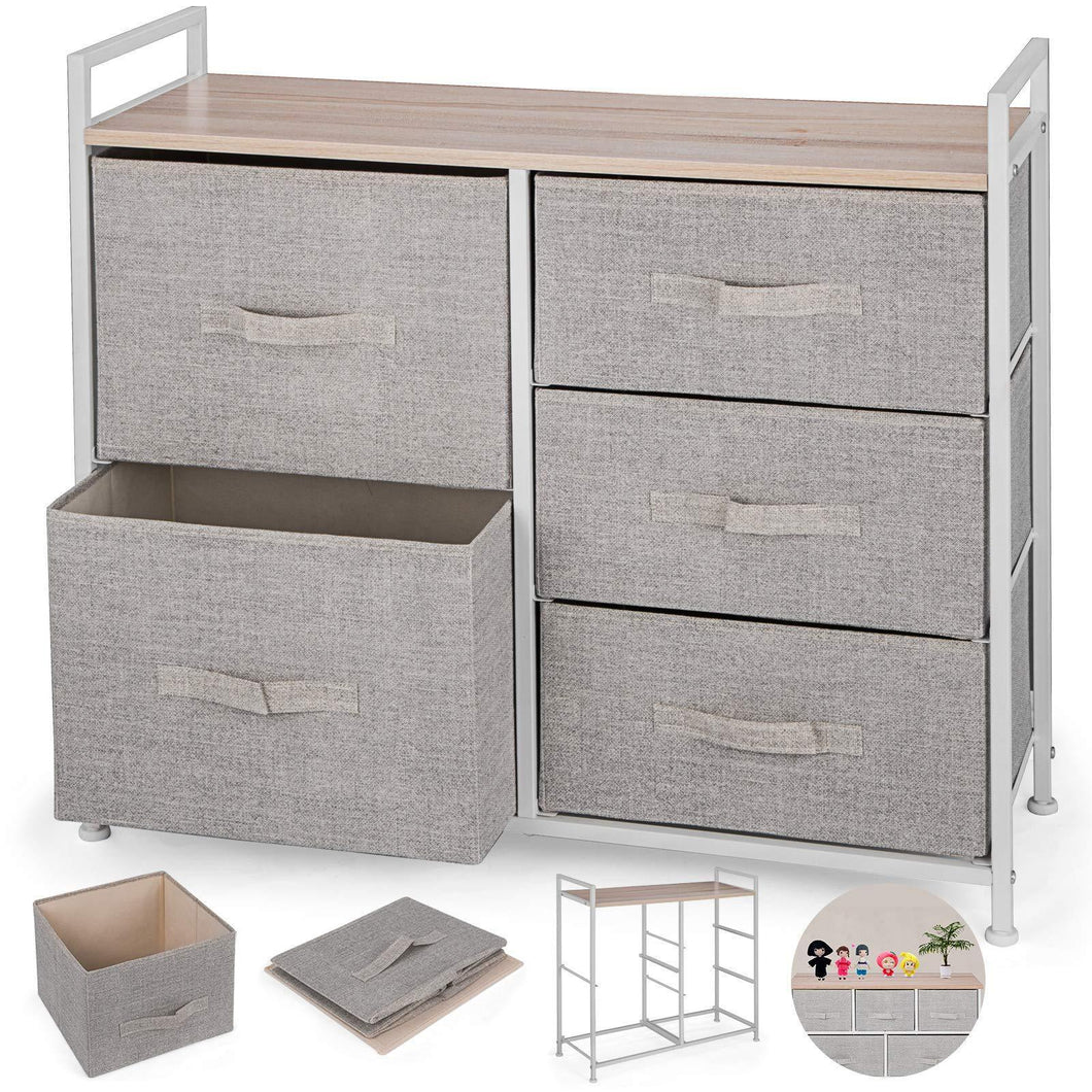 Top rated happybuy 5 drawer storage organizer unit with fabric bins bedroom play room entryway hallway closets steel frame mdf top dresser storage tower fabric cube dresser chest cabinet beige tall