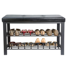 Load image into Gallery viewer, Latest simplify f 0680 black storage bench shoe rack ottoman tufted padded seating for entryway bedroom closet hallway black