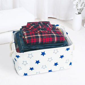Shop here storage bin zonyon rectangular collapsible linen foldable storage container baby basket hamper organizer with rope handles for boys girls kids toys office bedroom closet gift basket blue star