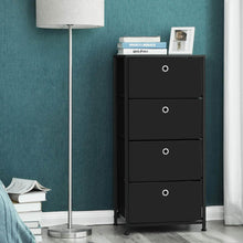 Load image into Gallery viewer, Order now songmics 4 tier dresser drawer unit cabinet with 4 easy pull fabric drawers storage organizer with metal frame and wooden tabletop for living room closet hallway black ults04h
