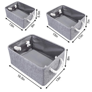 Selection kedsum fabric storage bins baskets foldable linen storage boxes with handles closet organizers bins cube storage baskets bins for shelves clothes closet nursery gray 3 pack