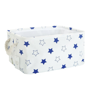 Shop storage bin zonyon rectangular collapsible linen foldable storage container baby basket hamper organizer with rope handles for boys girls kids toys office bedroom closet gift basket blue star