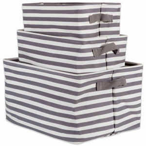 Featured dii cabana stripe collapsible waterproof coated anti mold cotton rectangle basket bin perfect for laundry room bedroom nursery dorm closet and home organization assorted set of 3 gray