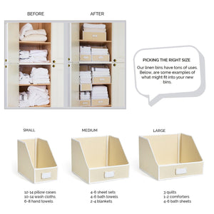 Featured g u s ivory linen closet storage organize bins for sheets blankets towels wash cloths sweaters and other closet storage 100 cotton large
