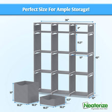 Load image into Gallery viewer, Buy now neaterize 12 cube organizer set of storage cubes included diy cubby organizer bins cube shelves ladder storage unit shelf closet organizer for bedroom playroom livingroom office grey