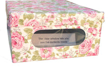 Load image into Gallery viewer, New protect store organize and keep dust out with our sturdy italian stackable closet storage boxes with hinged lid and window vinyl covered in and out for ez cleaning english rose design set of 3