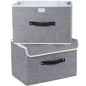 Organize with storage bins set meelife pack of 2 foldable storage box cube with lids and handles fabric storage basket bin organizer collapsible drawers containers for nursery closet bedroom homelight gray