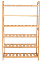 Load image into Gallery viewer, Explore birdrock home free standing bamboo shoe rack with handles 6 tier wood closets and entryway organizer fits 18 pairs of shoes