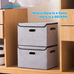 Discover seckon collapsible storage box container bins with lids covers2pack large odorless linen fabric storage organizers cube with metal handles for office bedroom closet toys