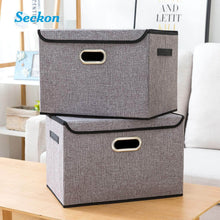 Load image into Gallery viewer, Exclusive seckon collapsible storage box container bins with lids covers2pack large odorless linen fabric storage organizers cube with metal handles for office bedroom closet toys