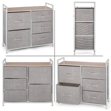 Load image into Gallery viewer, Best happybuy 5 drawer storage organizer unit with fabric bins bedroom play room entryway hallway closets steel frame mdf top dresser storage tower fabric cube dresser chest cabinet beige tall