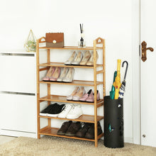 Load image into Gallery viewer, Best songmics bamboo wood shoe rack 6 tier 18 24 pairs entryway standing shoe shelf storage organizer for kitchen living room closet ulbs26n