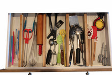 Load image into Gallery viewer, Discover the bamboo adjustable drawer dividers by vees handy kitchen expandable organizers for kitchen bedroom bathroom closets dressers baby kids laundry office garage she shed arts and crafts junk drawers