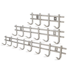 Load image into Gallery viewer, Exclusive webi wall mounted coat rack hooks heavy duty sus 304 wall hooks rack robe hooks metal decorative hook rail for bathroom kitchen office entryway hallway closet 8 hooks brushed finish 2 packs