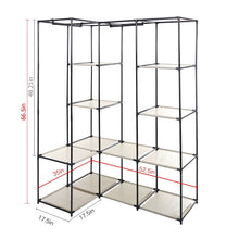 Load image into Gallery viewer, Order now dporticus portable corner clothes closet wardrobe storage organizer with metal shelves and dustproof non woven fabric cover in gray