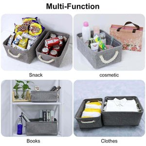 Shop kedsum fabric storage bins baskets foldable linen storage boxes with handles closet organizers bins cube storage baskets bins for shelves clothes closet nursery gray 3 pack
