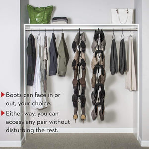 Discover boot butler boot storage rack as seen on rachael ray clean up your closet floor with hanging boot storage easy to assemble built to last 5 pair hanger organizer shaper tree
