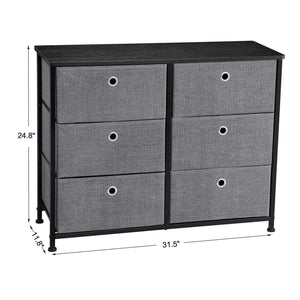 Heavy duty songmics 3 tier wide dresser storage unit with 6 easy pull fabric drawers metal frame and wooden tabletop for closet nursery hallway 31 5 x 11 8 x 24 8 inches gray ults23g