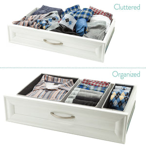 Buy now foldable closet drawer organizer set of 3 storage containers moisture and dust proof storage baskets beautiful textured fabric sturdy build perfect for home and office gray birch