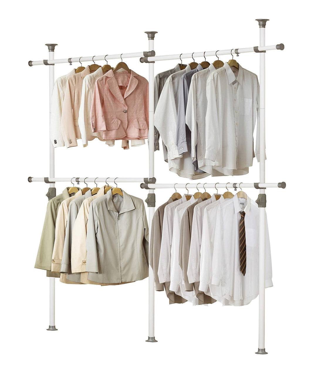 Shop for prince hanger one touch double 2 tier adjustable hanger holds 80kg176lb per horizontal bar clothing rack closet organizer 38mm vertical pole heavy duty garment rack phus 0033