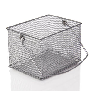 Shop ybm home mesh wire food storage organizer bin basket with handle for kitchen pantry cabinets bathroom laundry room closets garage rectangle metal farmhouse mesh basket 6 pack