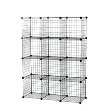 Load image into Gallery viewer, Select nice unicoo multi use diy 12 cube wire grid organizer bookcase bookshelf storage cabinet wardrobe closet toy organizer wire cube storage black wire