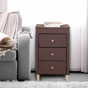 Best itidy 3 drawer dresser premium linen fabric nightstand bedside table end table storage drawer chest for nursery closet bedroom and bathroom storage drawer unit no tool requried to assemble brown