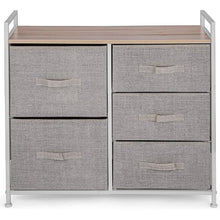 Load image into Gallery viewer, Amazon best happybuy 5 drawer storage organizer unit with fabric bins bedroom play room entryway hallway closets steel frame mdf top dresser storage tower fabric cube dresser chest cabinet beige tall