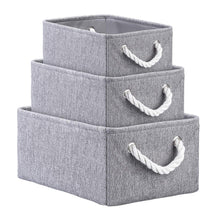 Load image into Gallery viewer, Save on kedsum fabric storage bins baskets foldable linen storage boxes with handles closet organizers bins cube storage baskets bins for shelves clothes closet nursery gray 3 pack