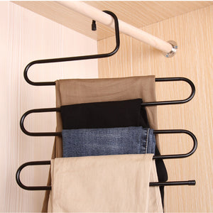 Cheap ds pants hanger multi layer s style jeans trouser hanger closet organize storage stainless steel rack space saver for tie scarf shock jeans towel clothes 4 pack 1