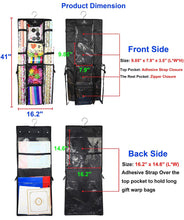 Load image into Gallery viewer, Organize with freegrace double sided hanging gift wrap organizer large 16 x 41 wrapping paper rolls storage bag tearproof space saving closet gift bag organization solution black