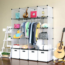 Load image into Gallery viewer, Budget friendly unicoo multi use diy 20 cube organizer wardrobe bookcase storage cabinet wardrobe closet with design pattern deeper cube semitransparent