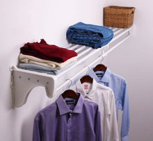 Load image into Gallery viewer, Discover expandable closet rod and shelf units with 1 end bracket finish white