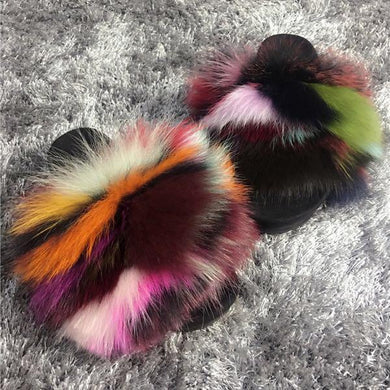 Oh She Classy Too Multicolored Fox Fur Raccoon Fur Slides/Sandles