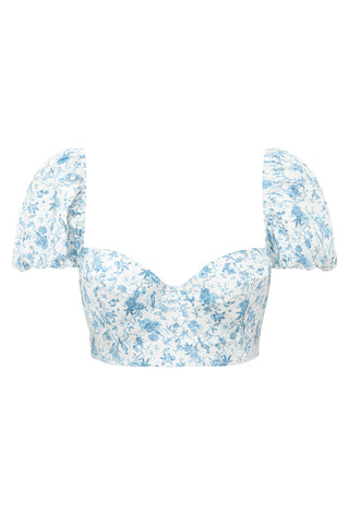 Puff Sleeve Bikini Top - Bloom