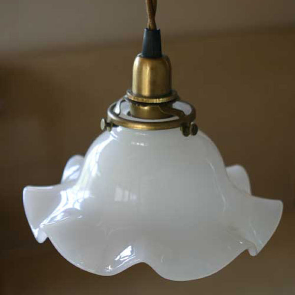 Milk Glass Lamp Shade Wave-M