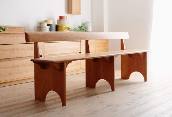 SHAKER WOOD BACK BENCH