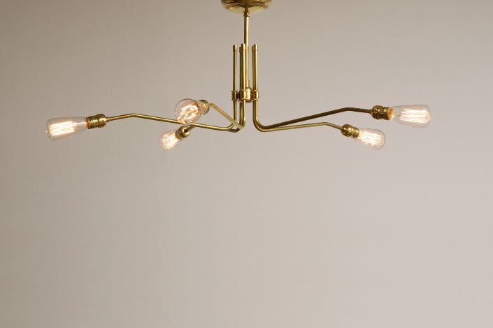 SOLID BRASS LAMP MID LONG 5 ARM