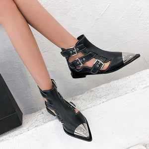 Buckle Genuine Leather Ankle Boots