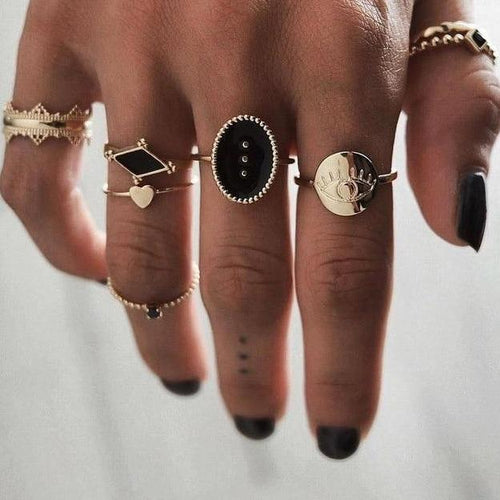 6 Pcs/Set Vintage Style Rings - Wearable Tattoo
