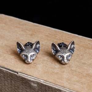 Sphynx Cats Sterling Silver Earrings - Wearable Tattoo